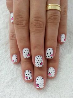 Polka dots and pink heart nail art - 30+ Adorable Polka Dots Nail Designs  <3 <3