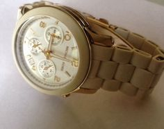 100% Auth Michael Kors MK5145 Women's Runway White Polyurethane Gold Tone Watch #MichaelKors #Fashion