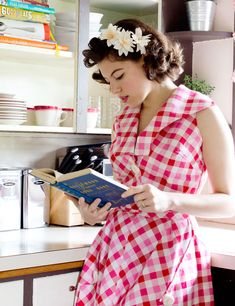Solanah looking completely darling in a great red, white and pink plaid summer dress. #vintage #fashion #bloggers