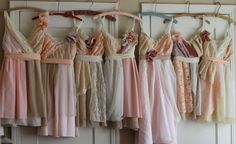 slightly different styles/ colors for bridesmaids but all pastels :) We could do something like this in eyelets, chiffon, cotton, seersucker, antique lace as long as it carries on a cream and cornflower blue theme