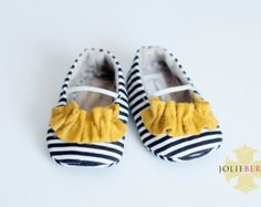 JANEY baby girl shoes.  Navy stripe with yellow/mustard ruffle.