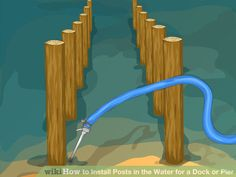 How to Install Posts in the Water for a Dock or Pier. If you want to build a pier or a dock, you need good, sturdy pilings or posts to support it. Unless you have the heavy equipment to drive the pilings into the ground, you'll either need. Lake Dock, Boat Dock, Docks Lake, Building A Dock, Building Ideas, Farm Pond, Lakeside Living, Outdoor Living, Outdoor Spaces