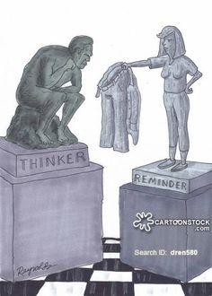 Thinker Cartoons and Comics Statues, Cartoons, Illustrations, Humor, Cool Stuff, Comics, Funny, Pictures, Image