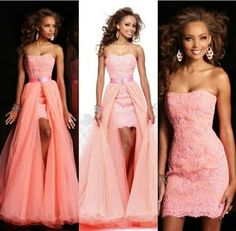 2014 Enchanting Lace Detachable Skirt Two Piece Puffy Evening Gown Prom Dresses