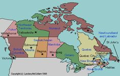 map of Canada with provincial capitals labeled