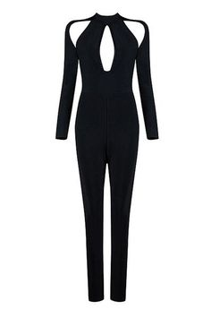 Hollow Out Long Sleeve Sexy Bandage Jumpsuits
