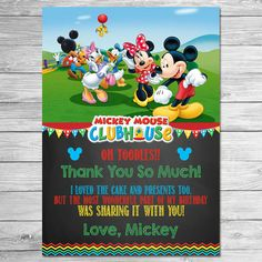 Mickey Mouse Clubhouse Thank You Card Chalkboard // Mickey Mouse Clubhouse Birthday Party // Mickey Mouse Clubhouse Thanks Printable Favors