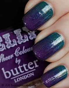 teal and violet ombre nails