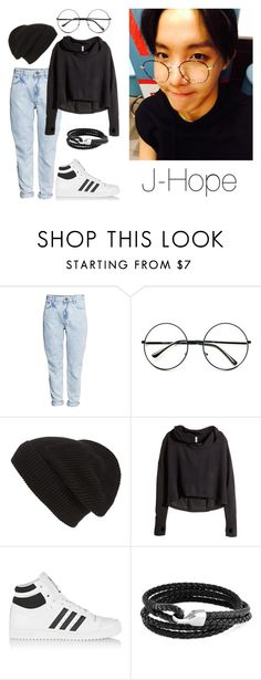 """J-Hope Selca w/ Glasses"" by btsoutfits ❤ liked on Polyvore featuring H&M, Retrò, Phase 3, adidas Originals and Bling Jewelry"