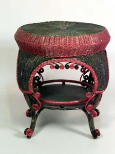 Wicker Victorian table end table painted