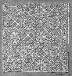 Date:      early 16th century  Culture:      Italian (Genoa)  Medium:      Bobbin lace  Dimensions:      L. 3 x W. 2 3/4 inches (7.6 x 7.0 cm)