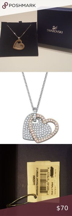 """Swarovski Crystal Hearts Amorous Versatile Pendant Swarovski necklace crafted in rhodium-plated chain featuring removable/interchangeable heart pendants with a crystal pave design. One pendant is crafted in rose gold-plated metal, the other in rhodium-plated metal. Wear them together, or one at a time to create a different look every time. Approximate size: 15 3/4"""", 3/4"""" x 7/8 Swarovski Jewelry Necklaces"""