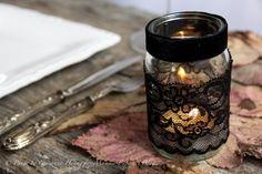 Wrap a Mason jar in black lace, then add a candle!