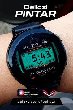 A digital watch face compatible with Galaxy Watch, Gear S3 and Gear Sport Digital Watch Face, Font Digital, Watch Faces, Cool Tools, Smart Watch, Traditional, Watches, Sport, Inspiration