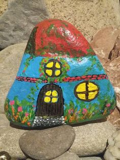 Painted smurf house on rock by ssdorryn85 on Etsy