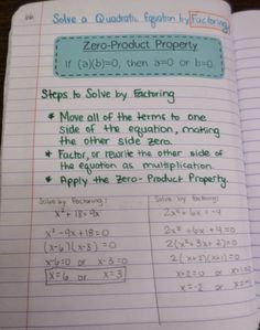 Math = Love: Solving Quadratics by Factoring and the Zero-Product Property