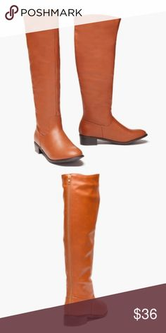 """Sociology Brown Tan Brown Knee High Boots These Women's Knee High Boots by Sociology feature an almond toe and full length back zipper.   Low 1"""" heel Faux Vegan Leather Upper Fit is true to size.  Brown Tan color. Sociology Shoes Heeled Boots"""