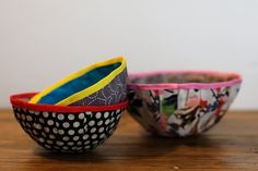 Fabric Bowls - a great project for kids of all ages. Very relaxing for kids to make, too!
