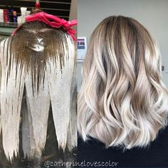 (Balayage application and finished) Used with a splash of processed 35 minutes no heat, shadowed root with and glaze Ashy Blonde Balayage, Bayalage, Ash Blonde, Blonde Hair, Pearl Blonde, Short Balayage, Blonde Color, Hair Color Techniques, Hair Color For Women