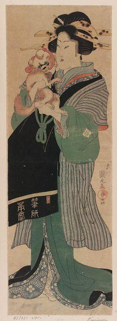 Courtesan Holding a Pekinese Dog, Artist Utagawa Kunimaru (Japanese, 1793–1829) | Museum of Fine Arts, Boston