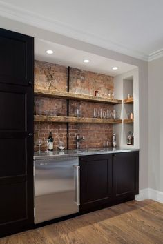 basement kitchenette? Replace mini fridge with under counter microwave or more cabinets for overflow pantry storage