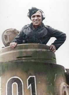 Colorised image of Kurt Knispel in the cupola of his Tiger panzer. Heer Oberfeldwebel, Panzer Aces