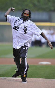 Snoop Dogg  ( Photo by David Banks/Getty Images / May 25, 2012 )  Rapper Snoop Dogg throws out the first pitch before the White Sox-Minnesota Twins game May 24, 2012 at U.S. Cellular Field.