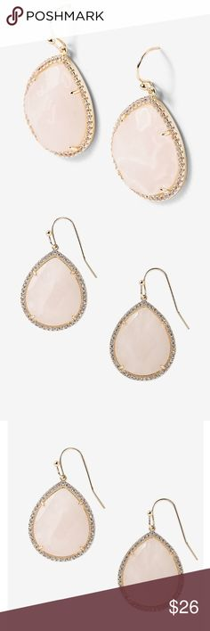 Pavé Semi-Precious Teardrop Blush Earrings Polish any ensemble with these semi-precious teardrops surrounded by sparkling, clear crystals.You'll love the touch of romance they bring to both basics and dressier looks. Drop earrings Teardrop shape Pavé-set crystals 20 x 38 mm Brass/Semi-precious stone/Cubic zirconia Lead and nickel free Imported Jewelry Earrings