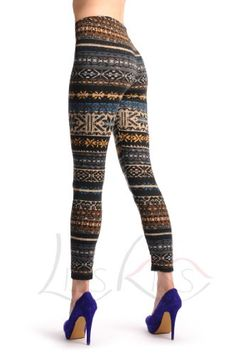 Grey, Blue, Brown & Black Aztec Jacquard Knit Print - Multicolored Printed Geometrical Opaque Leggings (bestseller)