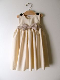Elegant Ivory Dress - Girls Ivory or White Cotton Dress with Linen Bow, $49.00