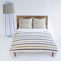 Social Proper Golden Black Duvet Cover #stripes #gold #bedding #bedroom
