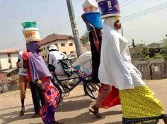 Hausa/Fulani girls street hawking food, Abuja, Nigeria, #JujuFilms