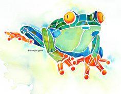 Jo Lynch - Tree Frog in Greens Painting  - Tree Frog in Greens Fine Art Print
