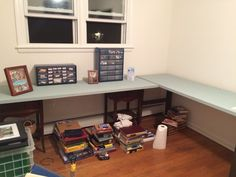 Old closet doors + old end tables + chalkboard paint = new desk!