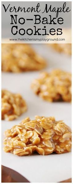 Scrumptious pure Vermont maple syrup no-bake cookies. {Whole-grain and no refined sugar} Scrumptious pure Vermont maple syrup no-bake cookies. {Whole-grain and no refined sugar} Köstliche Desserts, Delicious Desserts, Yummy Food, Health Desserts, Holiday Desserts, Plated Desserts, Maple Syrup Cookies, Baking Recipes, Cookie Recipes