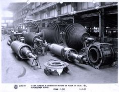 Steam turbine and generator rotors on the floor inside Building 60 at #GE Schenectady plant circa 1927.