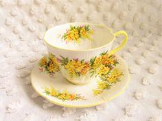 Vintage Royal Albert Yellow Laburnum Teacup Saucer Blossom Time Series Shelly Shape