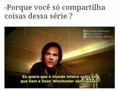 Fan de verdade vai lembrar desse episodio 😂 Supernatural Bunker, Supernatural Memes, Spn Memes, Funny Memes, Sam E Dean Winchester, My Only Love, Super Natural, Series Movies, Destiel