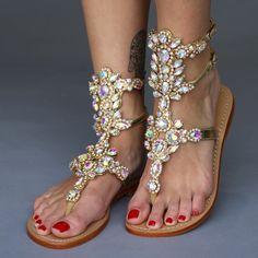 c1aa1e50ed9074 Atlantic City - Jeweled Gladiator Gold Sandal