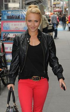 Love the look of a leather jacket and red skinnies :)
