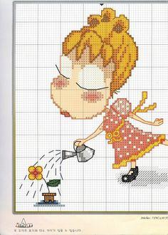Вышивка крестом / Cross stitch : Девочка с цветком