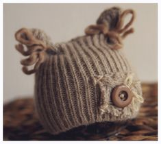 RTS newborn baby upcycled hat baby taupe hat by Fireflyaccessories, $16.55