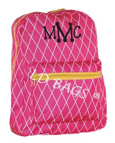 Cross Hatch Hot Pink Yellow Backpack With by MonogramExpress Yellow Backpack 759783e0b3098