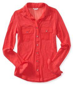 Long Sleeve 2-Pocket Knit & Woven Shirt from Aeropostale