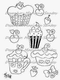 desenhos de cupcakes para pintar