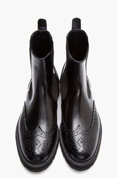 JUUN.J Black Leather Chelsea Wingtip Brogue Boots