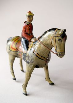 Antique Tin Litho Wind Up Toy For Sale Jockey on Horse Germany Early 20th Century Americana - Love it!