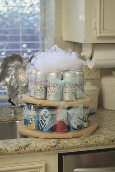 gift from the bride to her groom and groomsmen #beercake