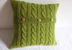 Chartreuse decorativi maglia Throw Pillow cuscino di verde