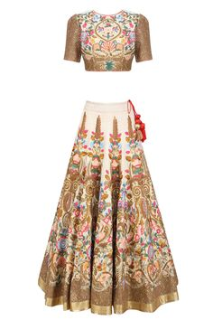 Gold silk thread and zari floral embroidered sheer kalidaar gown available only at Pernia's Pop Up Shop. Lehenga Skirt, Anarkali, Lehenga Choli, Saree, Indian Skirt, Indian Dresses, Traditional Fashion, Traditional Outfits, Indian Attire